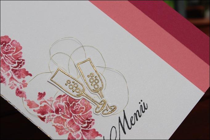 Florale Grüße Stampin Up Hochzeit Einladung Menükarte Platzkarte Pink Rosa Gold Schimmer 02