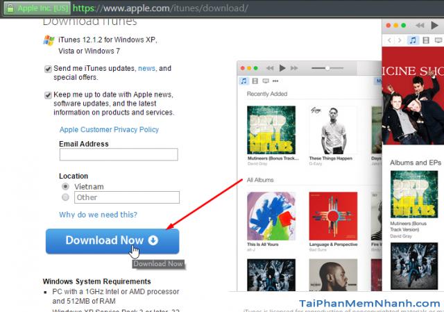 Tải iTunes từ trang chủ Apple.com