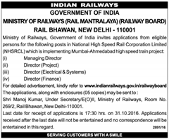 Ministry of Railways Director Jobs 2016