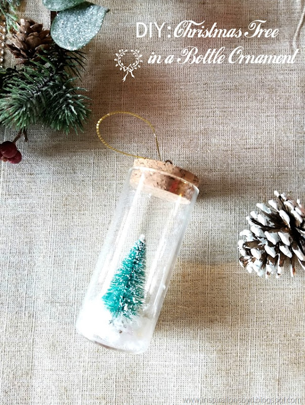DIY Christmas tree in a bottle ornament