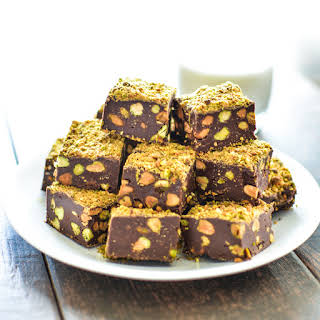 5-Ingredient Dark Chocolate Fudge with Pistachios.