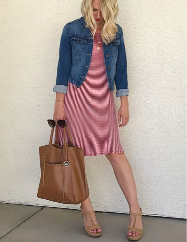 Thrifty Wife, Happy Life- Red stripe dress with denim jacket