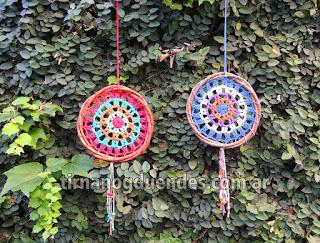 Mandala al crochet. Variedad de colores. 17cm. www.tirnanogduendes.com.ar