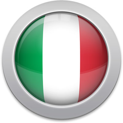 Italian flag icon with a silver frame
