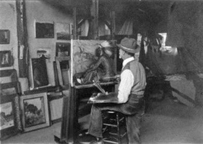 JH Sharp at work in his Taos Studio