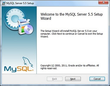MySQL installation welcome screen