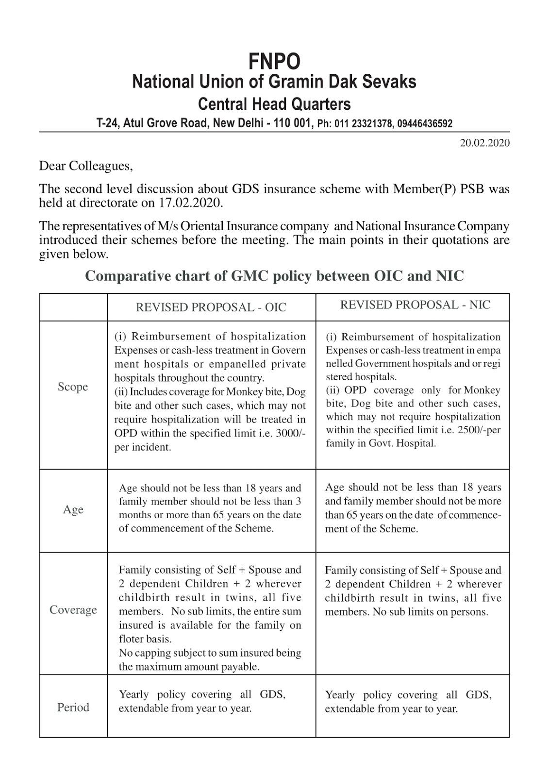 Group Medical Insurance Scheme for GDS - FNPO Letter | SA POST