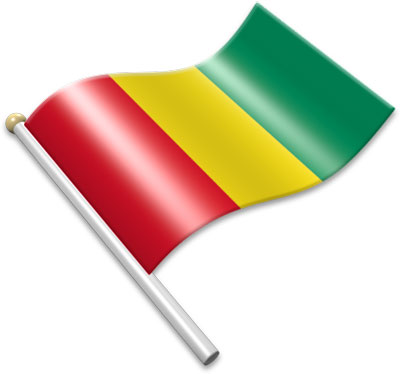 The Guinean flag on a flagpole clipart image