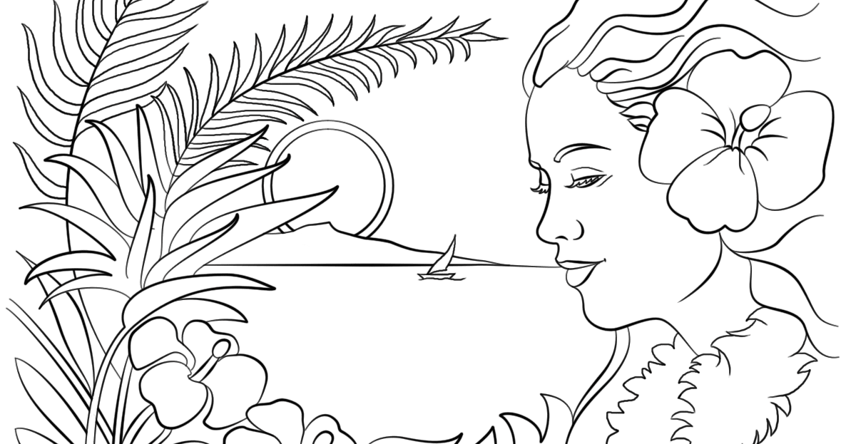 Best HD Hawaiian Island Coloring Pages Design