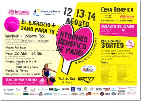 II Torneo Benéfico de Pádel y Cena Solidaria a favor de Infancia sin Fronteras. 12,13 y 14 agosto 2016 en San Pedro Alcántara.