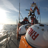 Helmets drying off after a helicopter exercise on Poole's Tyne class lifeboat 'City of Sheffield'