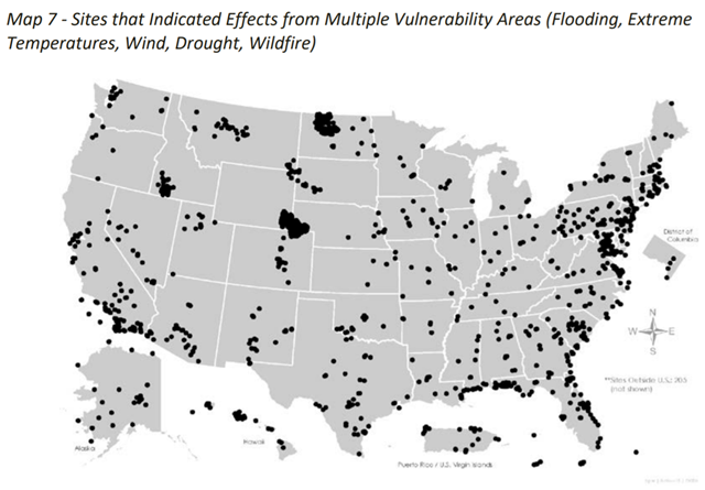 U.S. military sites that indicated effects from multiple vulnerability areas (flooding, extreme temperatures, wind, drought, wildfire). Graphic: Office of the Under Secretary of Defense for Acquisition, Technology, and Logistics