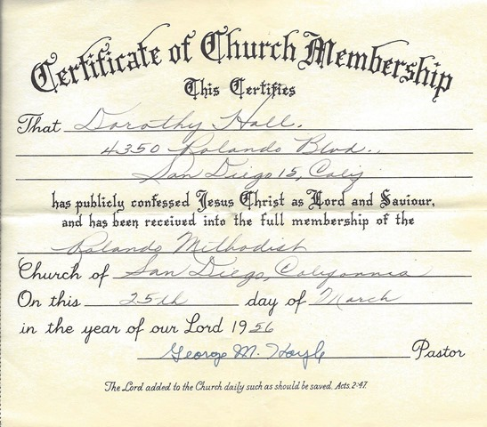 HALL_Dorothy_cert of church membership_Rolando methodist_25 Mar