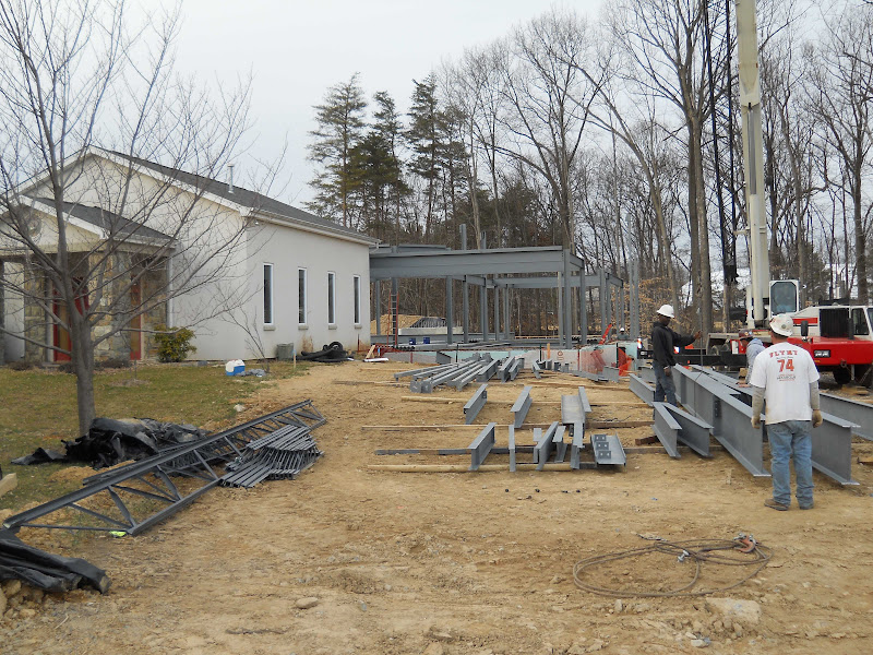 Steel beams for floor and roof