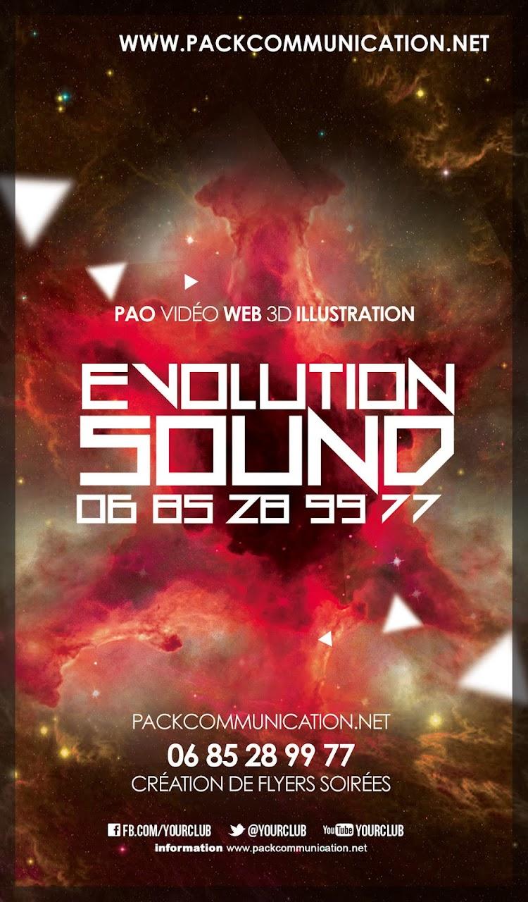 création flyers soirées thème Evolution Sound