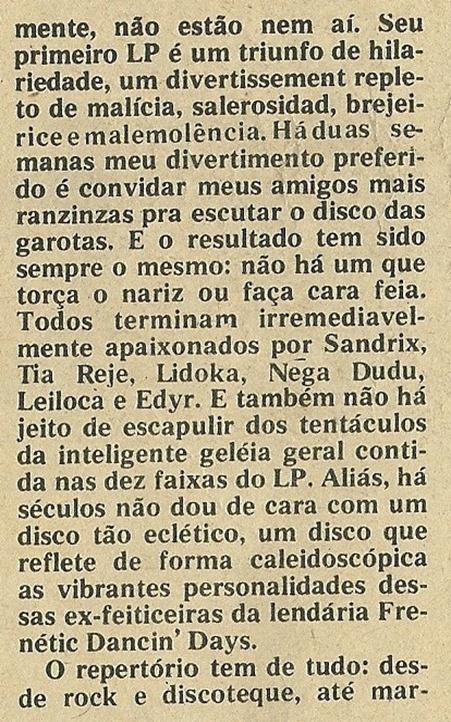 Frenéticas, Alegria de verão. As Frenéticas chegaram - Jornal de Música 1977-12