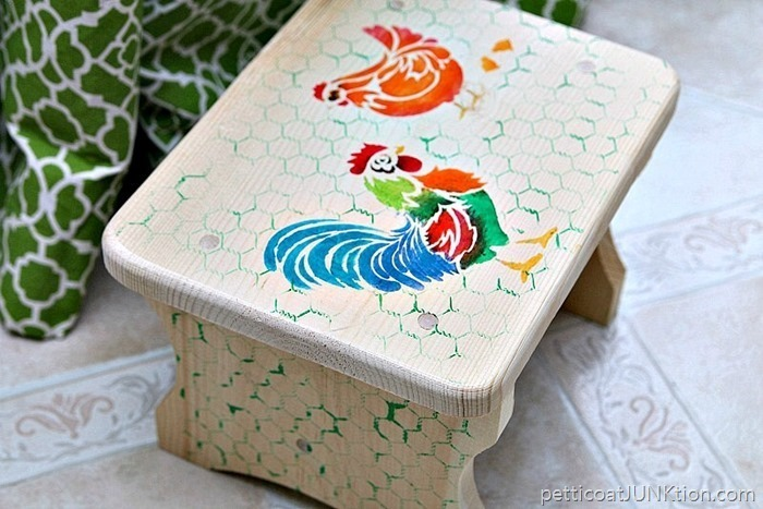 Stenciled-Step-Stool-Is-Something-To-Crow-About-Petticoat-Junktion-FolkArt-Ultra-Dye-Stencil-pro-1