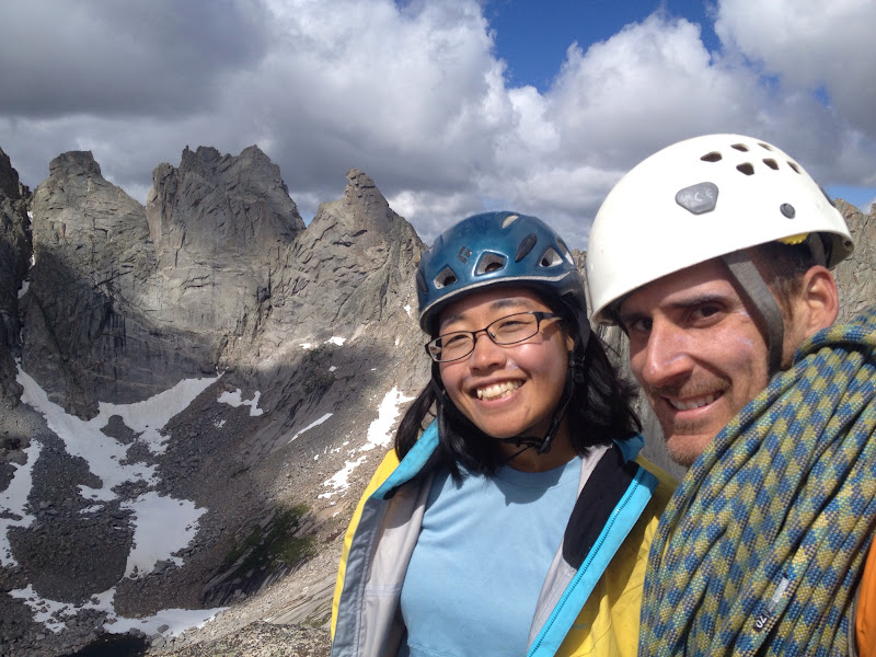 At the top of Pingora. Shark's Nose and Overhanging Tower peaks are behind us.