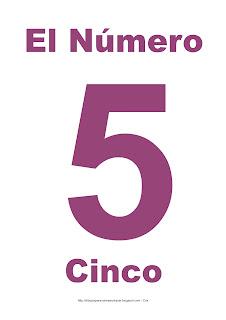 Lámina para imprimir el número cinco en color morado