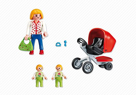 Contenido real de Playmobil® 5573 Mamá con Carrito de Gemelos