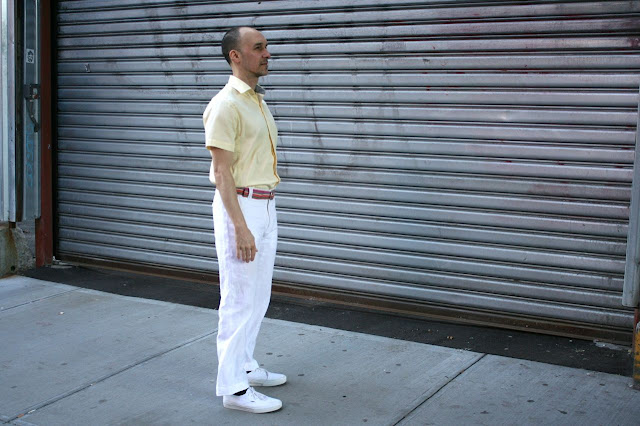white linen pants and yellow cotton shirt