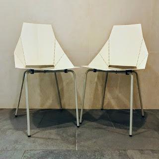 Modern Enameled Metal Chair Pair