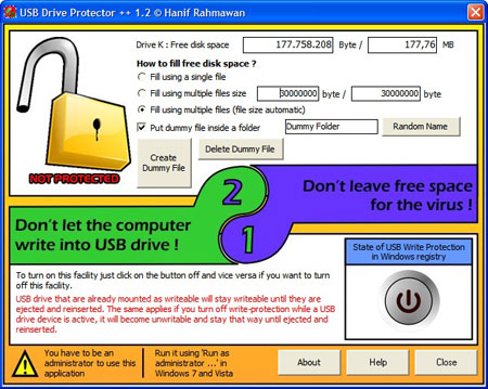 USB Drive Protector ++ - Protection 1 : unlock