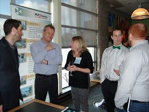 Photo: Simon Davies of MK Plastics entertaining Christine Kemp with Adam Moons