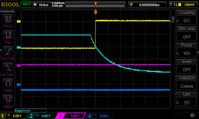 "Oscilloscope trace showing the ""circuit breaker"" signal from the card reader (cyan) and the READ REL CHK error signal (yellow)."