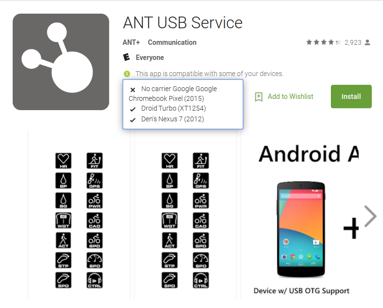 Chromebooks, Android Apps, and ANT or Bluetooth Devices