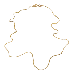 14K Gold Chain and Bead Necklace