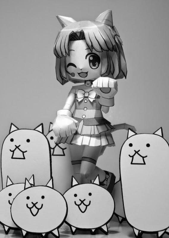 Battle Cats Papercraft Moneko