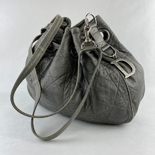 Christian Dior Leather Cannage Drawstring Hobo Bag
