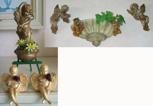 "vintage plaster angels $25 for all 10"" sconce $15"