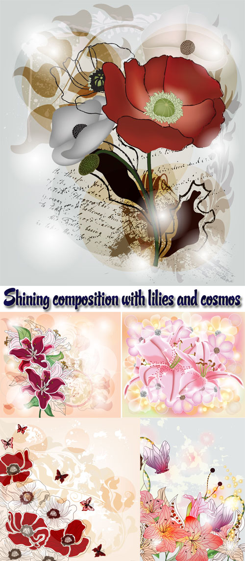 Stock: Shining composition with lilies and cosmos