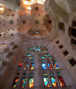 Stained glass and ceiling, southwestern end, Sagrada Familia