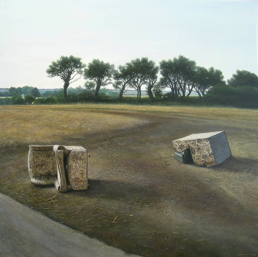 Chairs in a field. Artist Leslie Watts