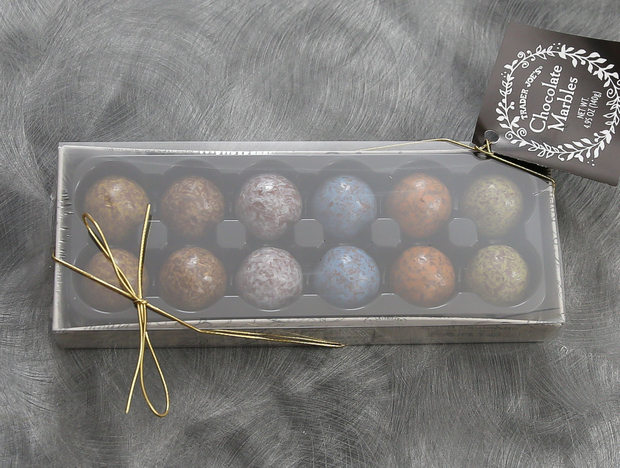 overhead photo of a box of Chocolate Marbles