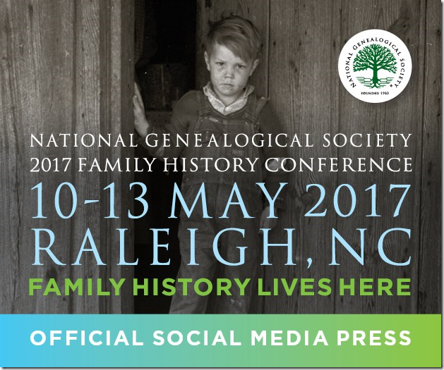 The Ancestry Insider is a member of the official social media press for the the National Genealogical Society 2017 Family History Conference.