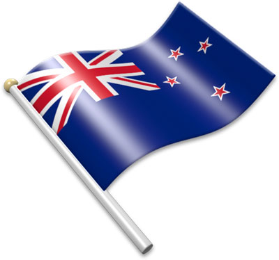 The New Zealand flag on a flagpole clipart image
