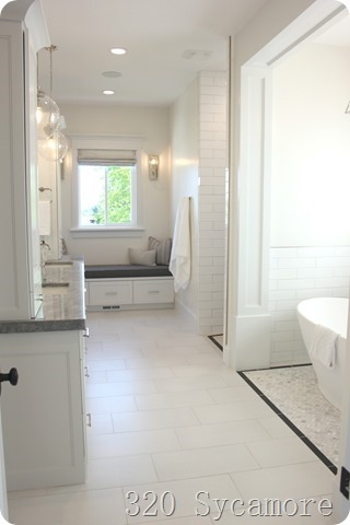 white gray master bathroom