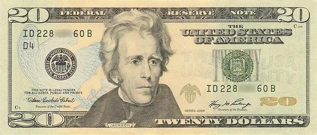 El billete de 20 dolares