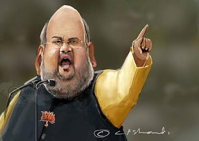 amit, shah, caricature, painting, bjp,  president, illustration