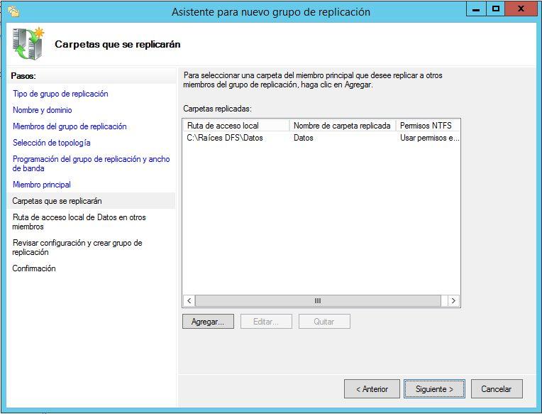 Crear grupo de replicación DFS