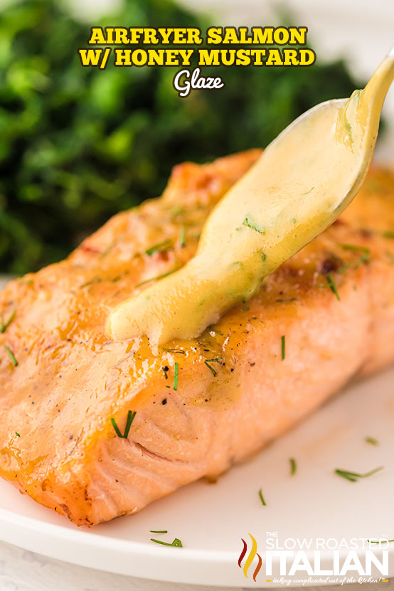 Air fry salmon with honey mustard glaze on white plate