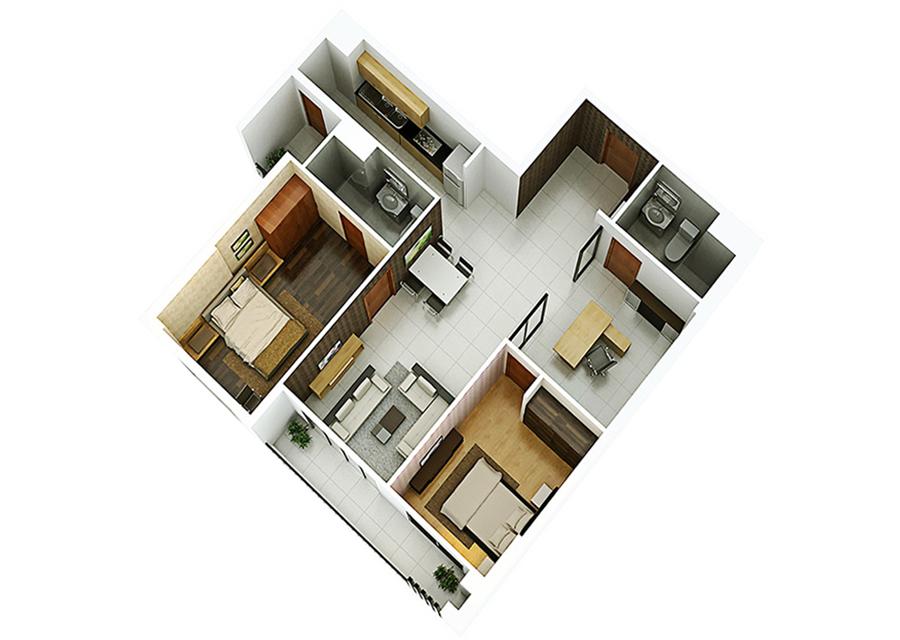 Phối cảnh 3D căn hộ 2 phòng ngủ DT: 98,56m2