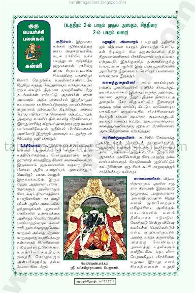 Kanni Guru Peyarchi Palan for 2015-2016