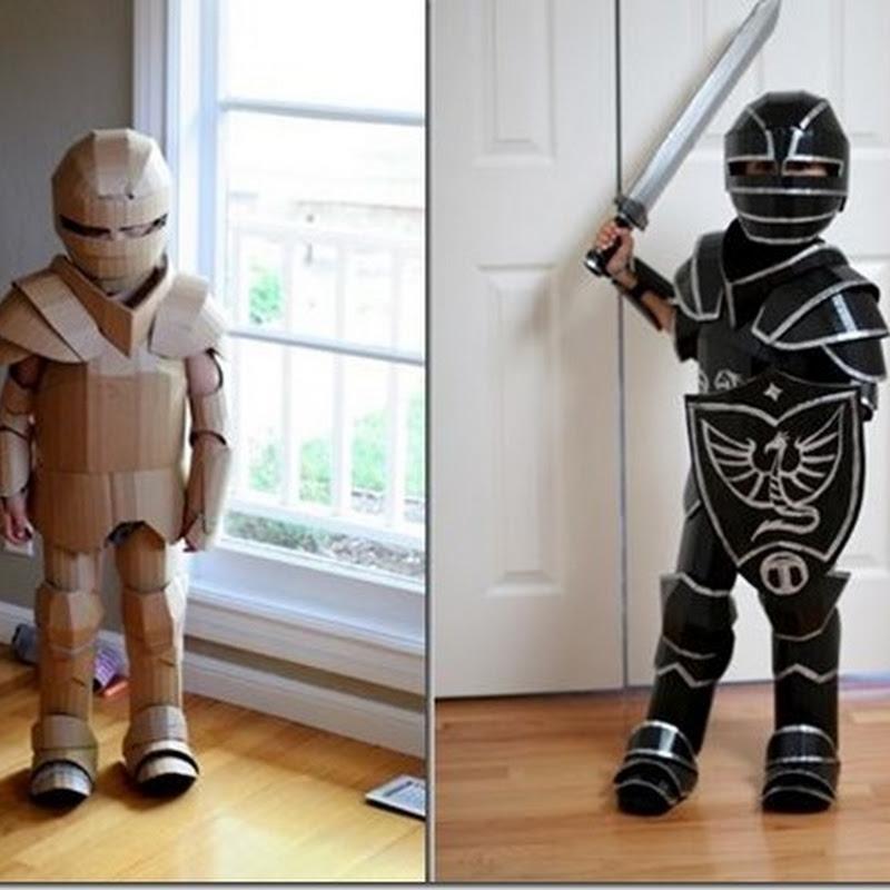 Disfraz armadura hecho con cartón
