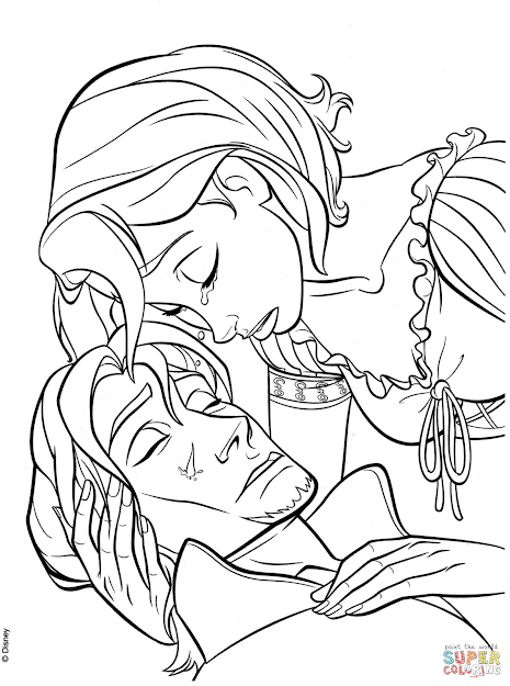 Click The Rapunzels Tear Heals Flynn Coloring Pages To View Printable  Version Or Color It Online Patible With Ipad And Android Tablets