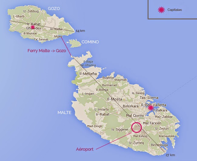 Carte de Malte et Gozo.
